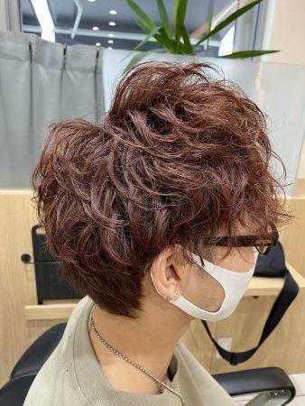 無造作ナチュラルパーマ×暖色系カラー【草加】【メンズ】